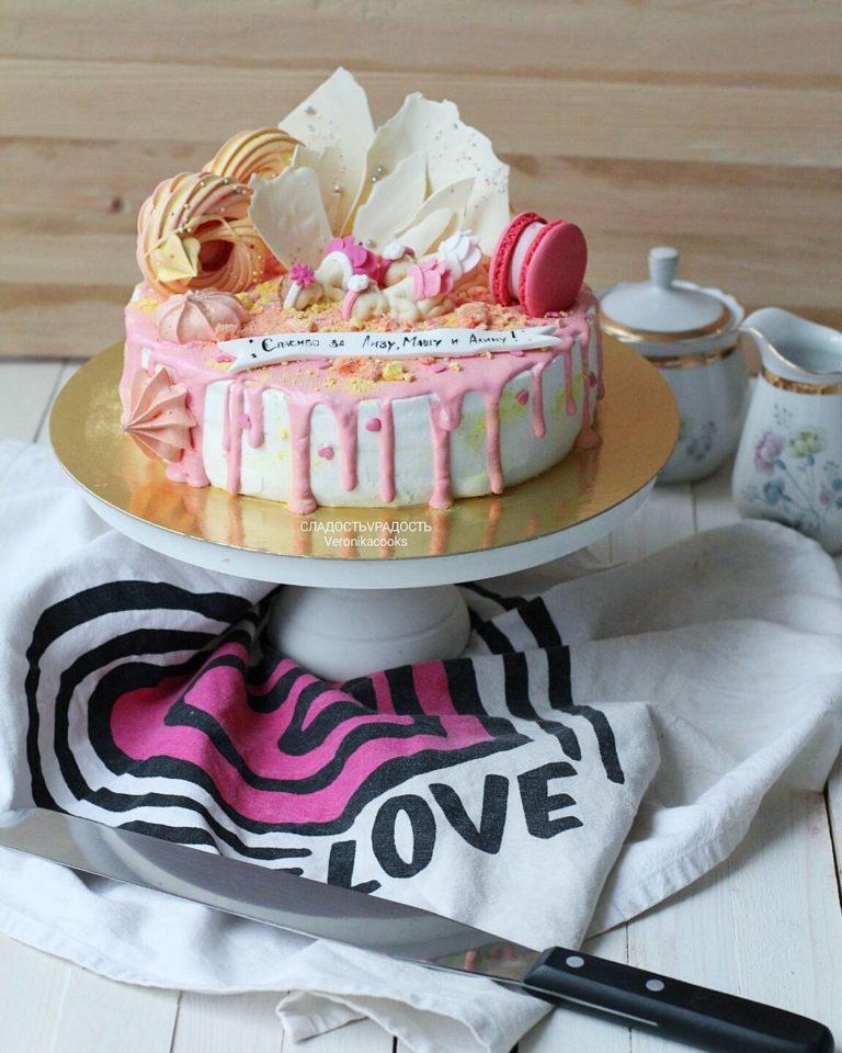 торт на рождение ребенка для девочки на заказ