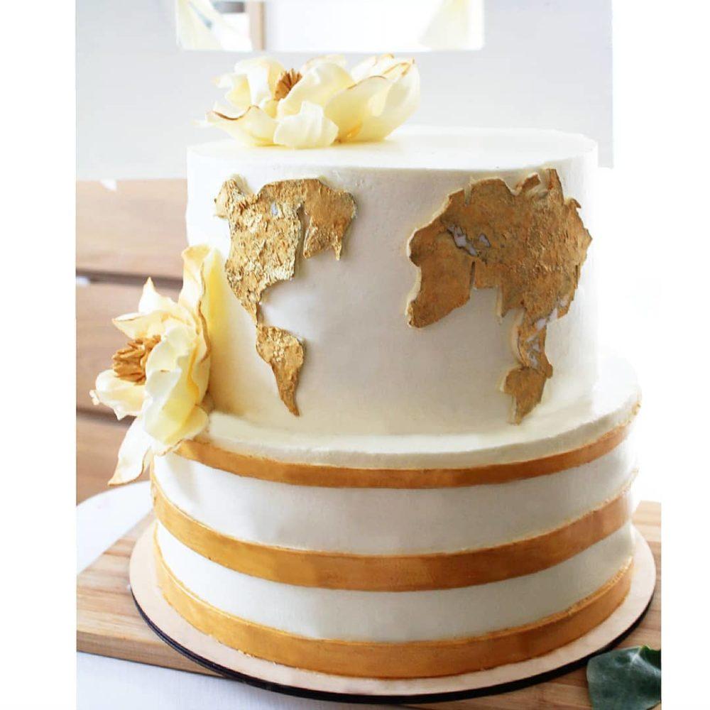 торт с картой мира