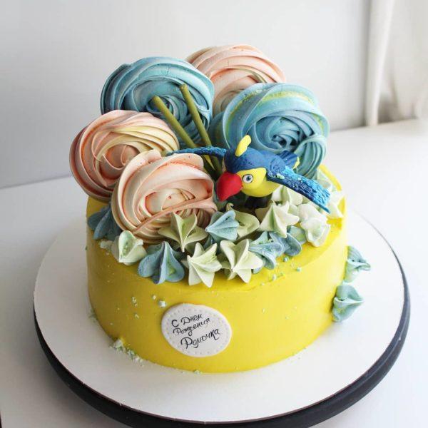 торт с попугаем без мастики на заказ в спб