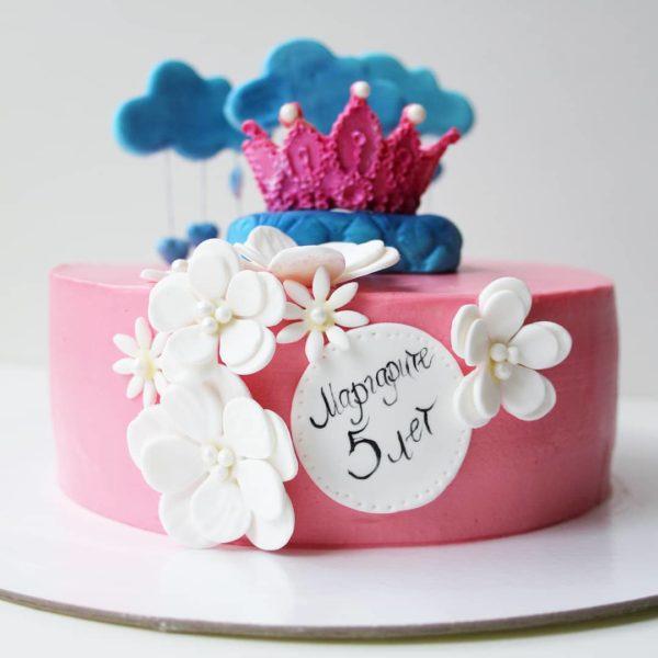торт с короной и облаками