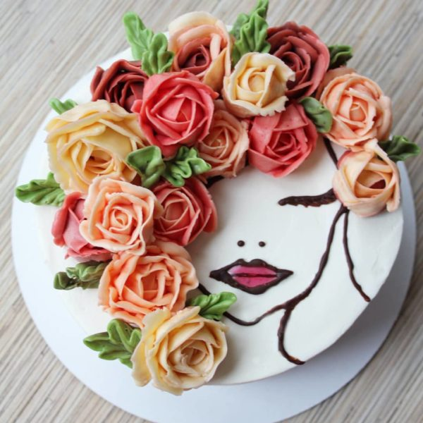торт с лицом девушки