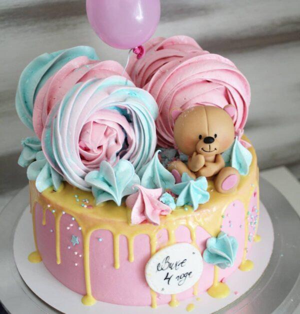 торт с мишкой для девочки