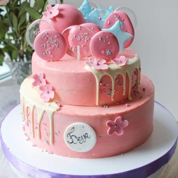 розовый торт с леденцами