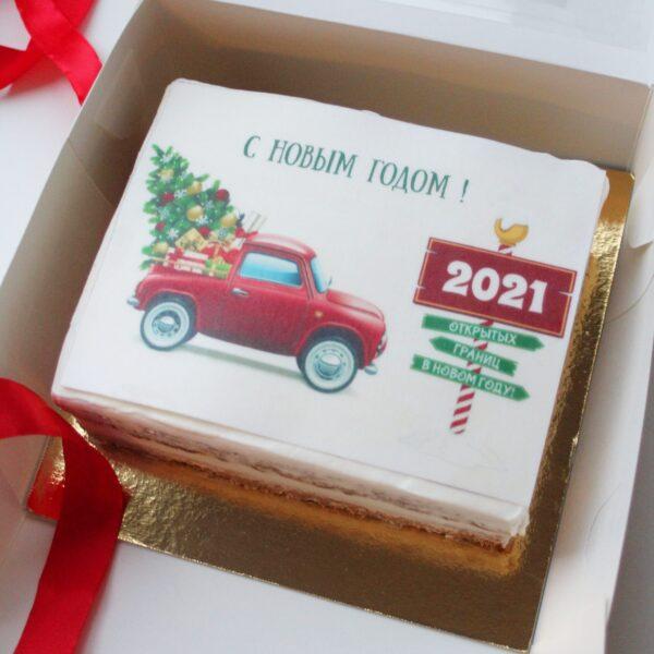 новогодний торт с машиной